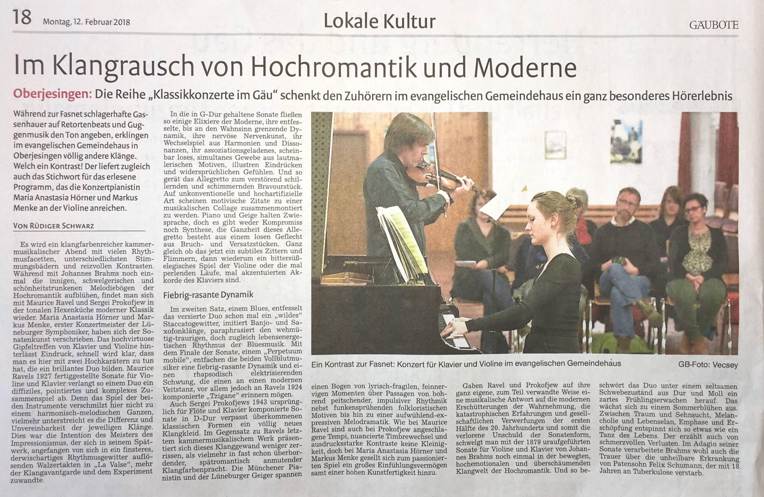 Zeitungsartikel. Rezension. Duo Hörner Menke.